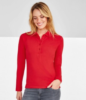 SOL'S Ladies Podium Long Sleeve Cotton Pique Polo Shirt