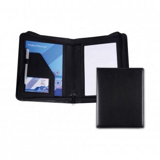 Black Belluno PU A5 Zipped Conference Folder