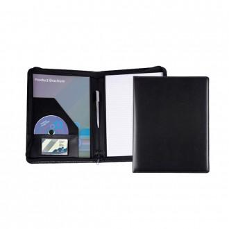 Black Belluno PU Zipped A4 Conference Folder