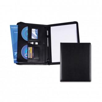 Black Belluno PU A4 Deluxe Zipped Conference Folder
