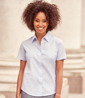 Russell Collection Ladies Short Sleeve Easy Care Oxford Shirt