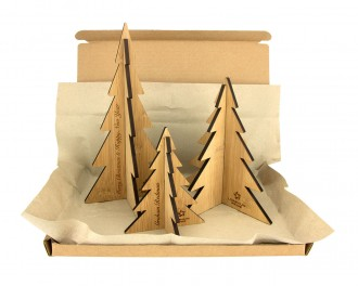 Bamboo Christmas Eco Postal Gift Pack - Baubles and Desktop Christmas Trees