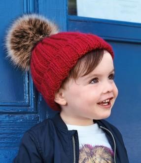 Beechfield Infant Fur Pom Pom Chunky Beanie