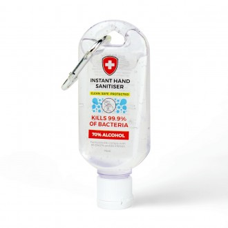 Antibacterial Hand Sanitiser on a Carabiner Clip (70ml)