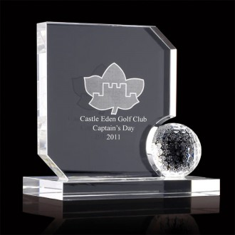 Crystal Trophy Block with Crystal Golf Ball Feature