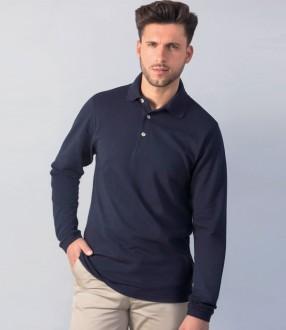 Henbury Long Sleeve Cotton Pique Polo Shirt