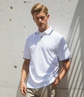 Henbury Contrast Double Tipped Cotton Pique Polo Shirt