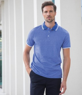 Henbury Two Tone Tipped Pique Polo Shirt