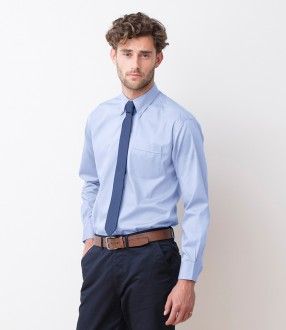 Henbury Long Sleeve Pinpoint Oxford Shirt