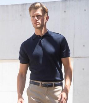 Henbury Knitted Short Sleeve Polo Shirt