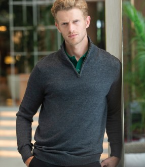 Henbury Zip Neck Sweater
