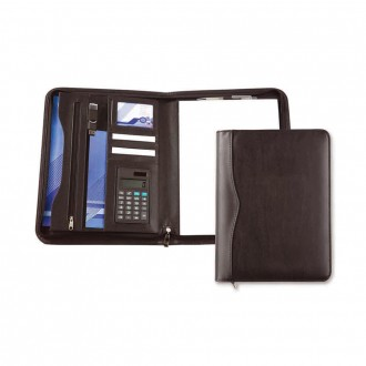 Black Houghton A4 Deluxe Zipped Folder With Calculator