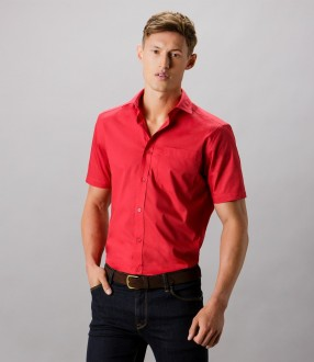 Kustom Kit Short Sleeve Tailored Poplin Shirt