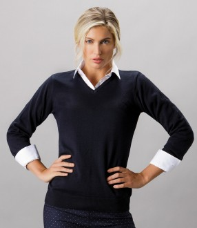 Kustom Kit Ladies Arundel Cotton Acrylic V Neck Sweater