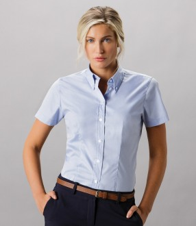 Kustom Kit Ladies Premium Short Sleeve Tailored Oxford Shirt