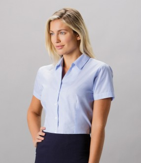 Kustom Kit Ladies Pinstripe Short Sleeve Tailored Shirt
