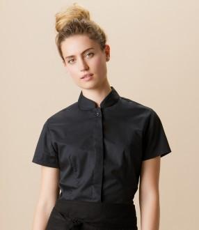 Bargear® Ladies Short Sleeve Tailored Mandarin Collar Shirt