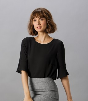 Clayton and Ford Ladies Regular Fit Fluted Sleeve Top