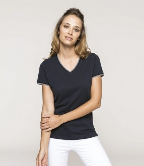 Kariban Ladies Tipped Pique V Neck T-Shirt