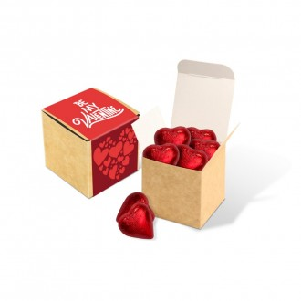 Eco Kraft Cube - Milk Chocolate Red Hearts