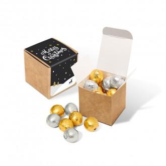 Eco Kraft Cube - Foiled Chocolate Balls