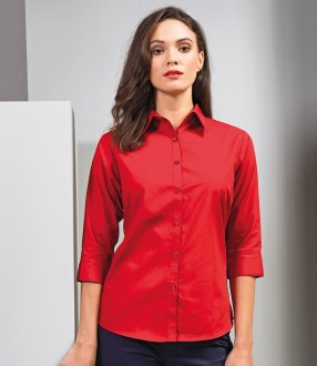 Premier Ladies 3/4 Sleeve Poplin Blouse