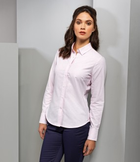 Premier Ladies Long Sleeve Striped Oxford Shirt