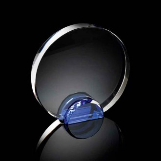 Round Crystal Frame with Blue Crystal Facet Stand