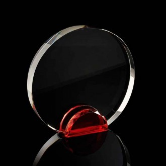 Round Crystal Frame with Red Crystal Facet Stand