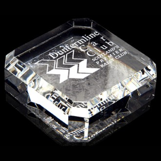 Crystal Square Paperweight - Bevelled Edges