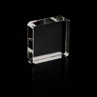 Crystal Square Paperweight - Rounded Corners