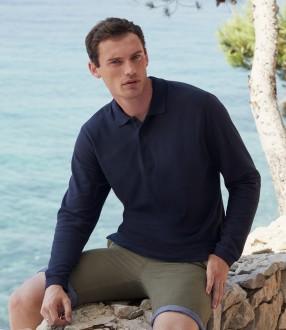 Fruit of the Loom Premium Long Sleeve Cotton Pique Polo Shirt