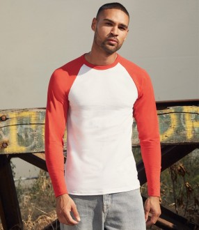 Fruit of the Loom Contrast Long Sleeve Baseball T-Shirt