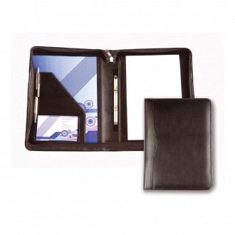 Black Balmoral Leather A5 Zipped Ring Binder