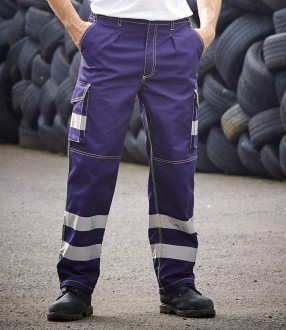 Yoko Hi-Vis Cargo Trousers with Knee Pad Pockets