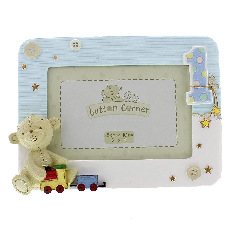 Button Corner 1st Birthday Photo Frame - Baby Boy Frame with Teddy (damaged)