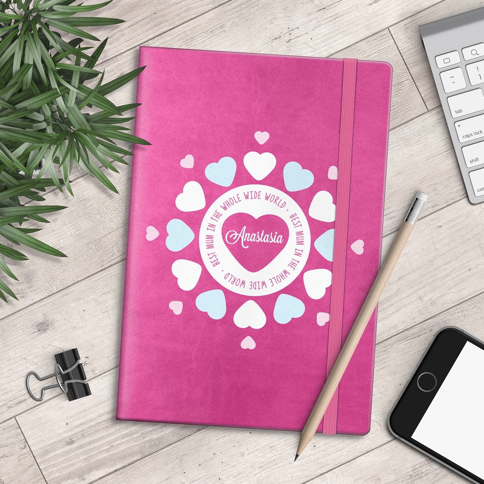 Personalised A5 Notebook - Best Mum in the Whole Wide World - Hearts Design - myNo Book