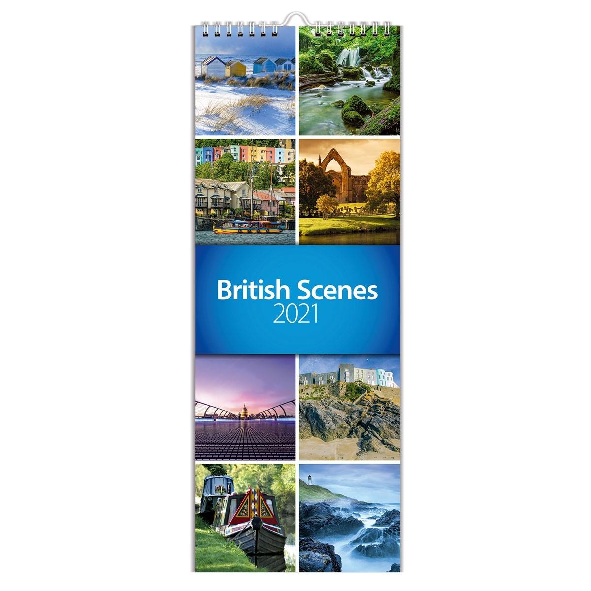 2021 British Scenes Slim Wall Calendar