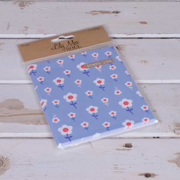 Blue Flowers Thank You Cards - Pack of 6