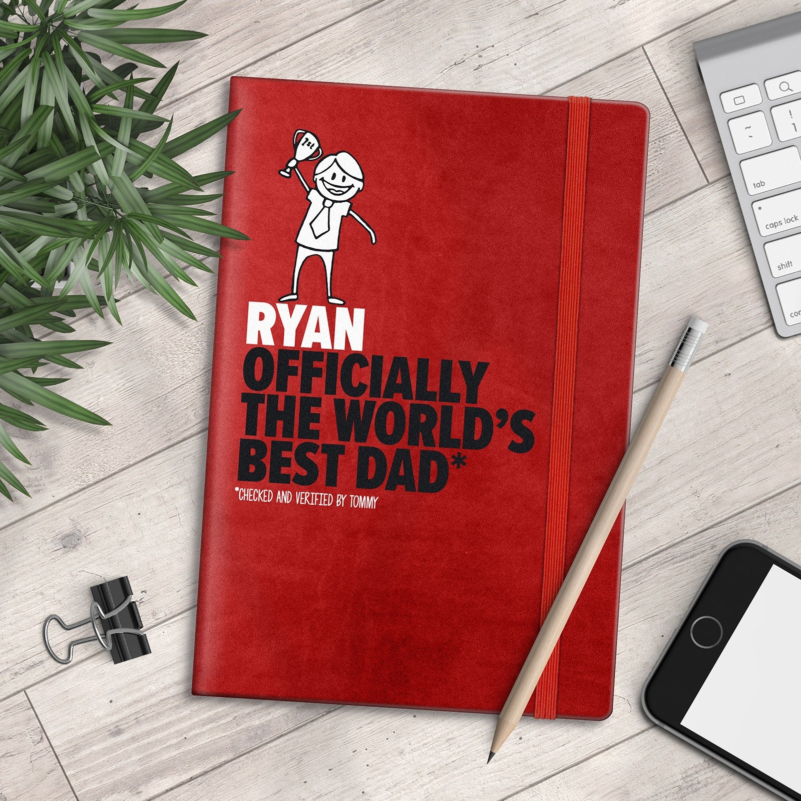 Personalised A5 Notebook - Officially The World's Best Dad - myNo Book