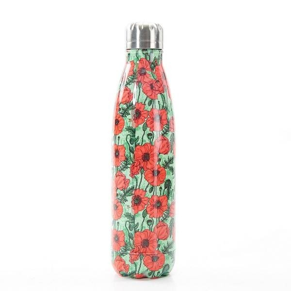 Green Poppies Thermal Bottle