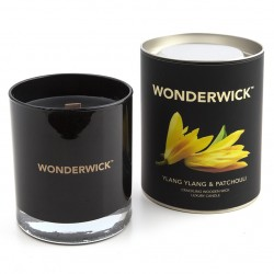 Wonderwick Noir Glass Candle - Wooden Wick Luxury Candle - Ylang Ylang and Patchouli