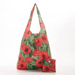 Green Poppies Folding Shopper Bag