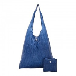 Navy Disrupted Cubes Folding Shopper Bag