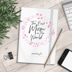 Personalised A5 Notebook - Best Mum in the World - Floral - myNo Book